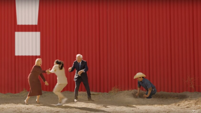 Actors portraying Clinton and Sanders appear in the ad.
