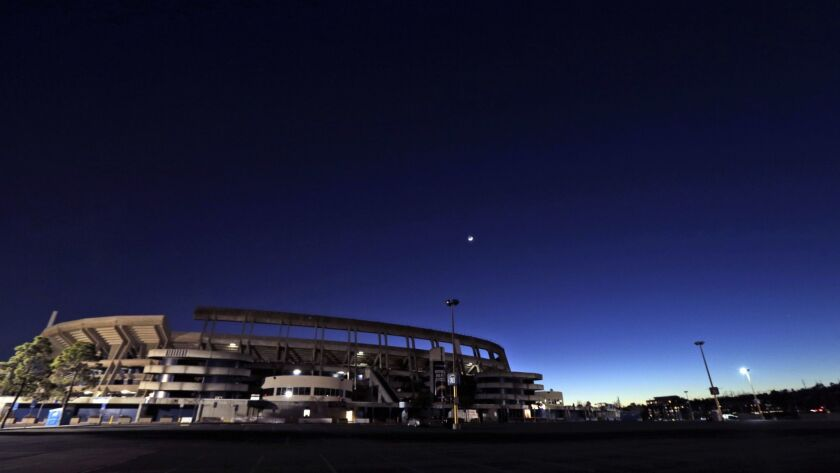 Qualcomm Stadium, the home field of the San Diego Chargers, stands Tuesday, Jan. 12, 2016, in San Di