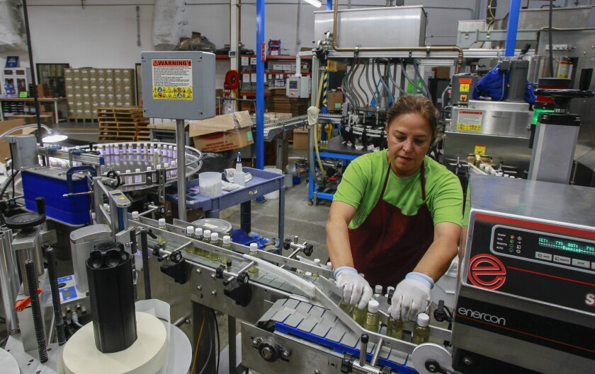 An employee in the packing area at the factory for the Dr. Bronner's company.