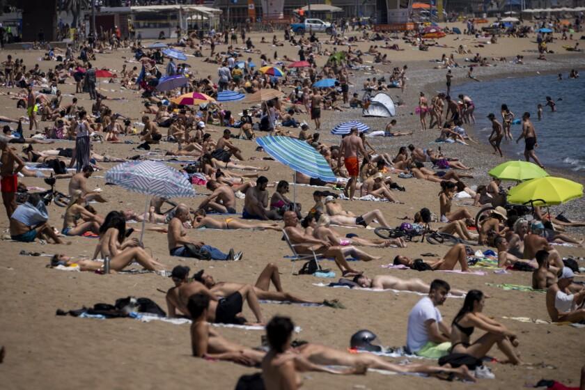 People sunbathing on beach in Barcelona, Spain
