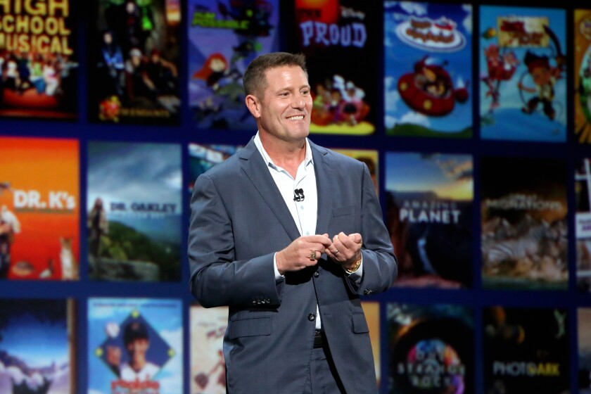 Kevin Mayer, chairman of Walt Disney Co.'s direct-to-consumer and international division, at the Disney+ Showcase at Disney's D23 EXPO 2019 in Anaheim, Calif.