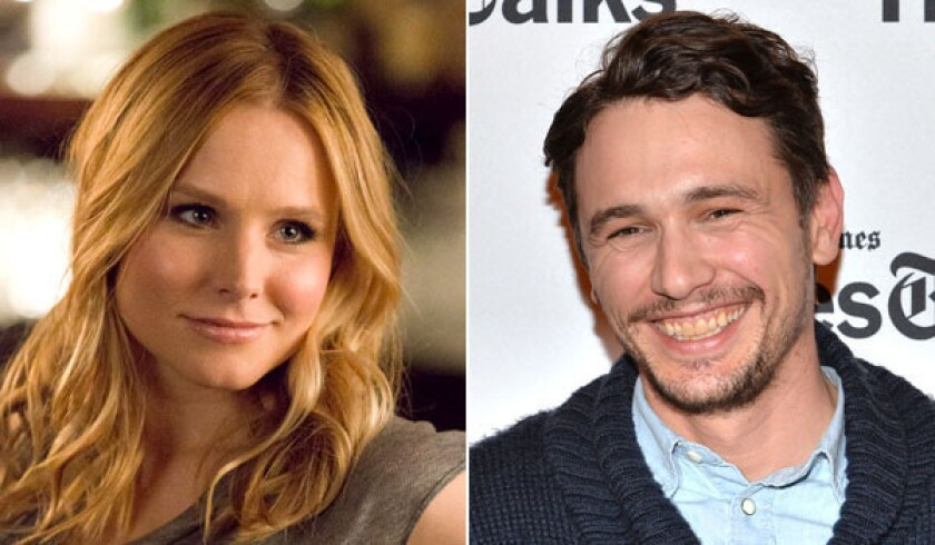 "Kristen Bell, left, stars in the ""Veronica Mars"" movie in which James Franco made a cameo."