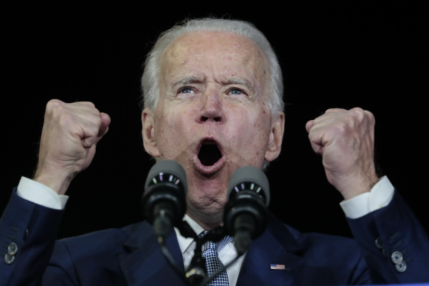 LOS ANGELES, CA, TUESDAY, MARCH 3, 2020 - Democratic Presidential hopeful, Joe Biden reacts to Super Tuesday voting results at the Baldwin Hills Recreation Center. (Robert Gauthier/Los Angeles Times)