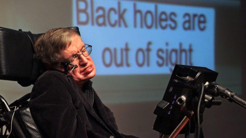 Stephen Hawking appears at the Bloomfield Science Museum in Jerusalem in 2006.