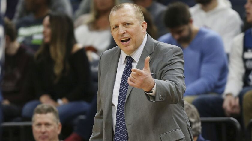 Minnesota Timberwolves' head coach Tom Thibodeau calls out to his team during the second half of an