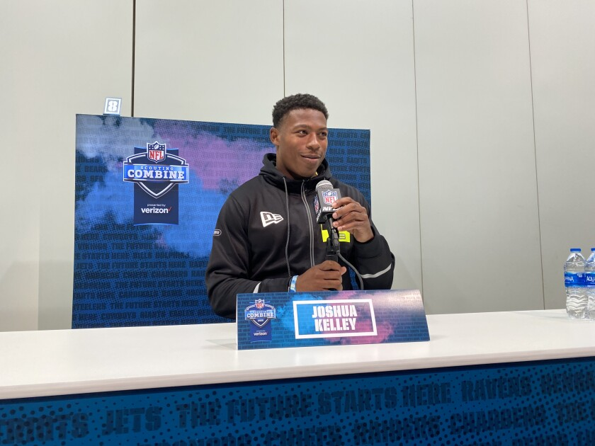 UCLA running back Joshua Kelley answers questions at the NFL combine in Indianapolis.