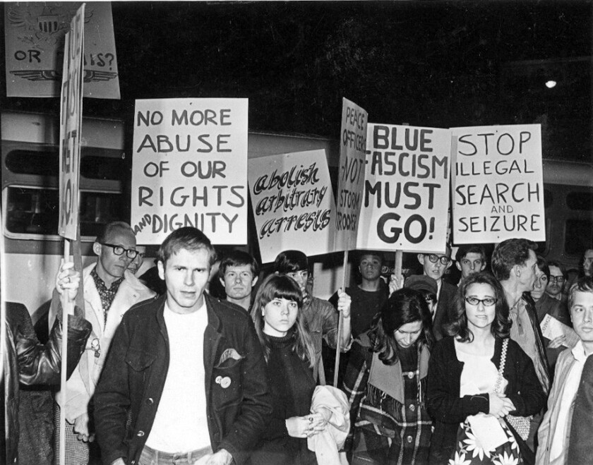 Protests in February 1967 outside the Black Cat bar in Silver Lake.