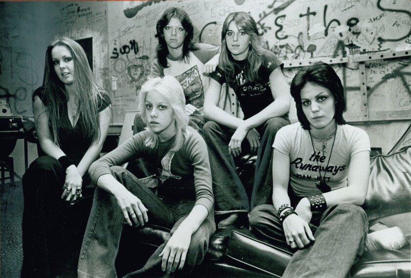 The Runaways in 1977 from left are Lita Ford, Cherie Currie, Jackie Fox (Jackie Fuchs), Sandy West and Joan Jett. Fuchs has recently claimed that she was raped by the band's manager when she was 16.