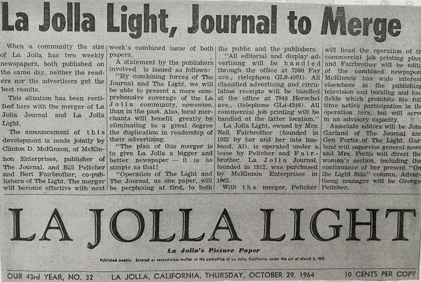 A 1964 La Jolla Light article announces the paper's merger with the La Jolla Journal.