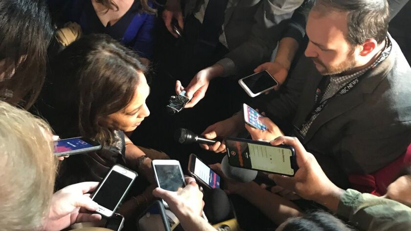 California Sen. Kamala Harris is surrounded by media at a fundraiser for Alpha Kappa Alpha Sorority