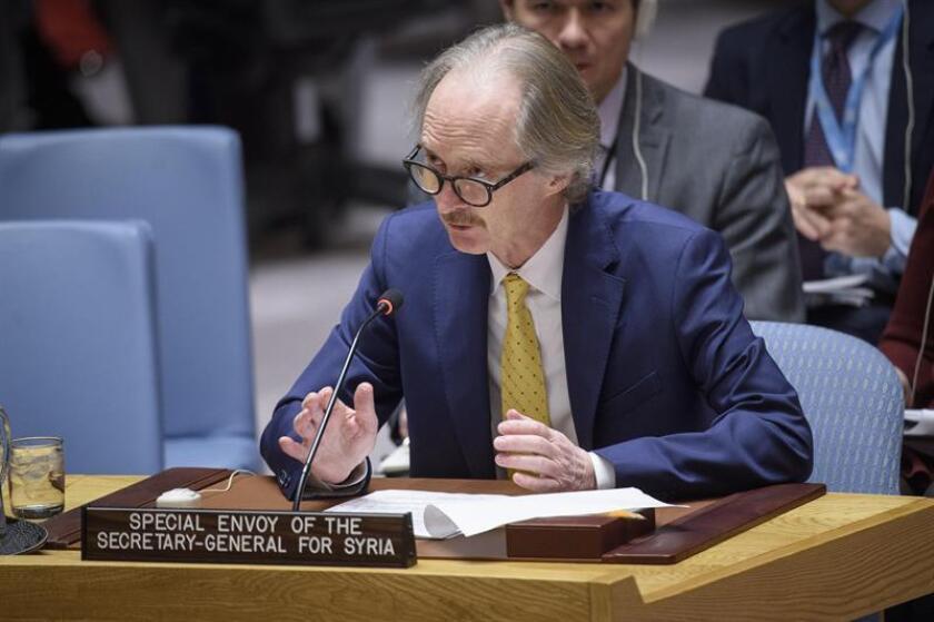 Fotografía cedida por la ONU donde aparece el nuevo enviado especial de Naciones Unidas para Siria, Geir Pedersen, mientras habla durante una reunión del Consejo de Seguridad sobre la situación en el Medio Oriente (Siria) celebrada este jueves en la sede del organsimo en Nueva York (EE.UU.). EFE/Loey Felipe/ONU/SOLO USO EDITORIAL/NO VENTAS