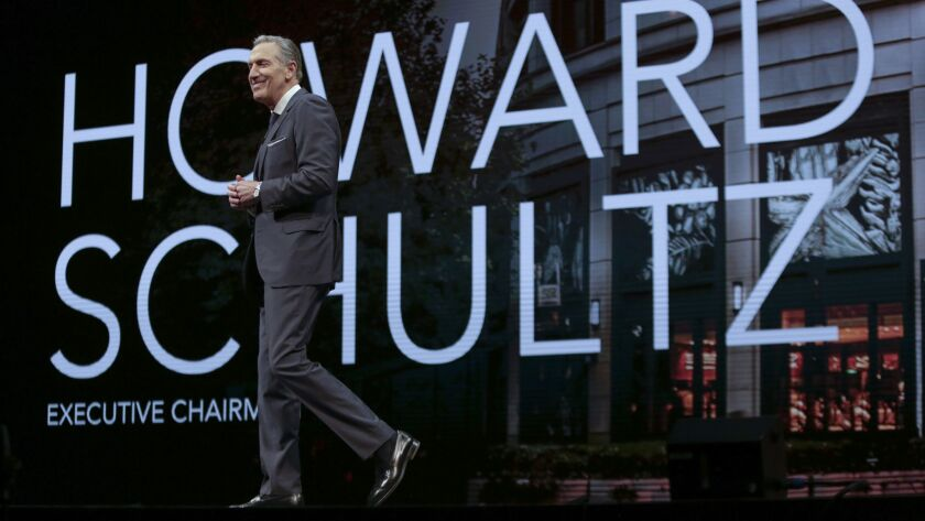 Starbucks Executive Chairman Howard Schultz at a March 2018 shareholders meeting in Seattle.