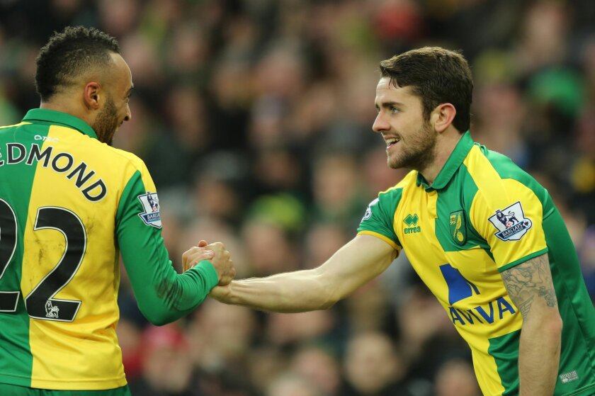 Norwich City's Robbie Brady, right, celebrates scoring against West Ham United with teammate Nathan Redmond during the English Premier League soccer match at Carrow Road, Norwich, England, Saturday Feb. 13, 2016. (Chris Radburn/PA via AP) UNITED KINGDOM OUT
