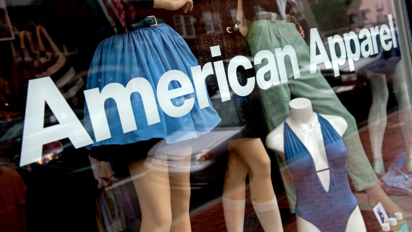An American Apparel retail store window.