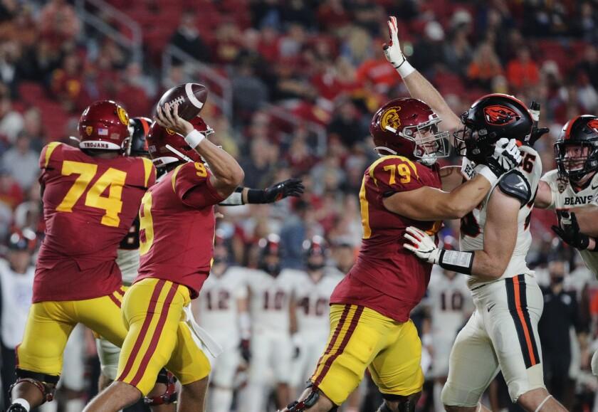 USC's Jonah Monheim protects quarterback Kedon Slovis.