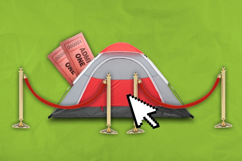 An illustration of a tent with two tickets and a mouse pointer icon