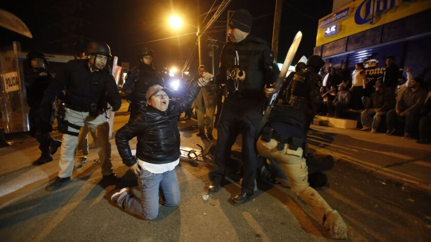 Demonstrators protesting gasoline hikes in Tijuana on January 7th are met by police presence in Rosarito.