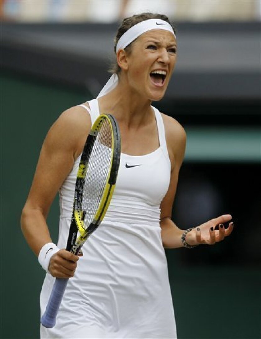 Victoria Azarenka of Belarus reacts during the semifinal match against Petra Kvitova of the Czech Republic at the All England Lawn Tennis Championships at Wimbledon, Thursday, June 30, 2011. (AP Photo/Anja Niedringhaus)