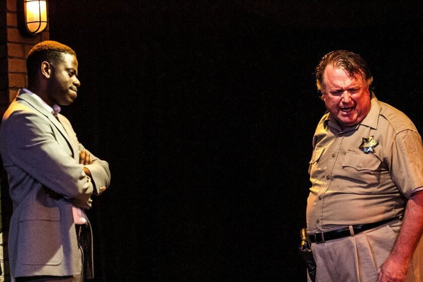 """Vimel Sephus (left) and Tom Stephenson in the Ion Theatre production of """"John Ball's In the Heat of the Night."""""""