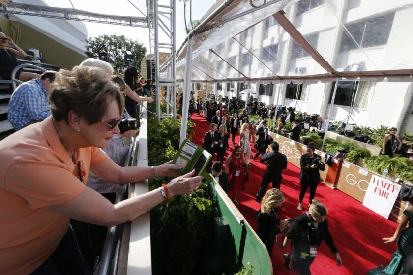 Ruth Turpin of Fort Worth captures the Golden Globes red carpet at the Beverly Hilton on Jan. 8.