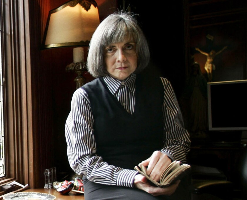 """FILE - Author Anne Rice poses for a photo at her home Oct. 26, 2005, in San Diego. Rice's """"Interview with the Vampire"""" is rising again on screen, this time for TV. The bestselling novel, which was adapted for the 1994 Brad Pitt-Tom Cruise film, will be the basis for a new AMC and AMC+ series set for 2022. (AP Photo/Lenny Ignelzi, File)"""