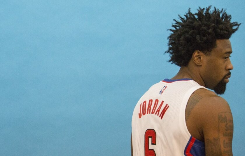 Clippers center DeAndre Jordan is photographed during media day on Sept. 26.