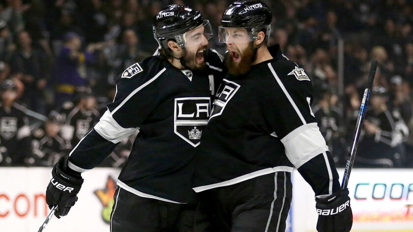 The Kings' Drew Doughty, left, and Jake Muzzin both participated in today's morning skate and both appear ready for Game 3 of their playoff series against the Vegas Golden Knights.