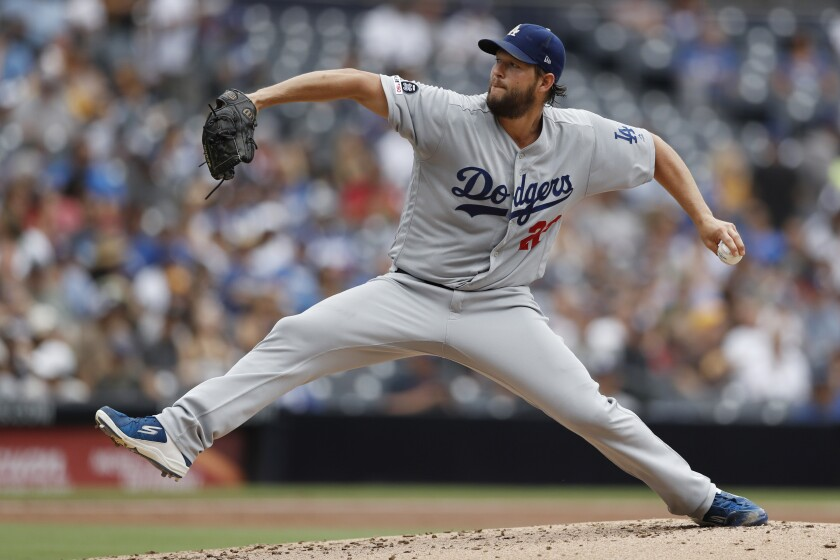 Dodgers starting pitcher Clayton Kershaw works against the San Diego Padres. Kershaw will start in Game 2 of the NLDS against the Washington Nationals.