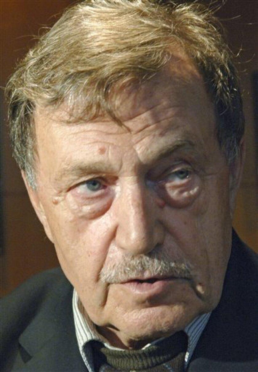 FILE - In this Sept. 26, 2007 file photo, Russian writer Vasily Aksyonov seen in Moscow. Russian writer and Soviet-era dissident Vasily Aksyonov has died at age 76 in Moscow. (AP Photo/RIA Novosti, Sergei Pyatakov, File)