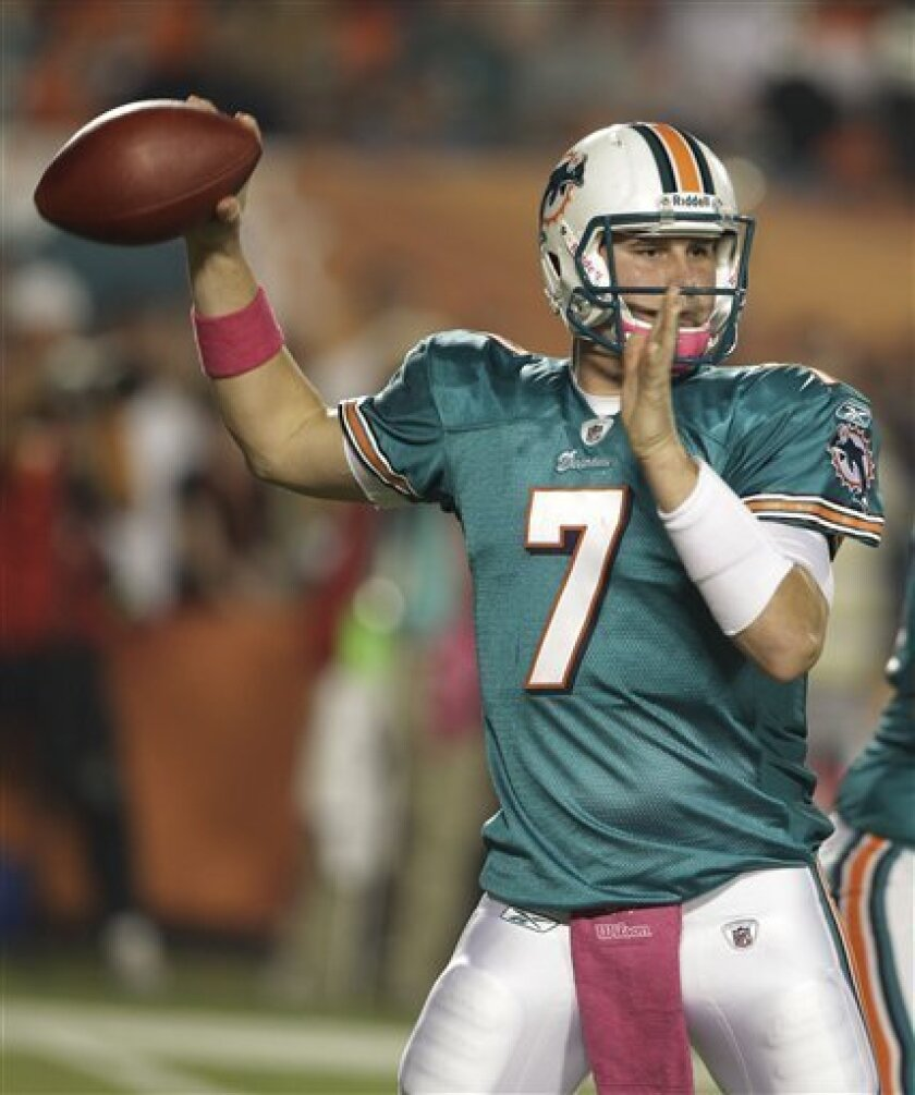 Miami Dolphins quarterback Chad Henne looks to pass against the New England Patriots during the first quarter of an NFL football game, Monday, Oct. 4, 2010, in Miami. (AP Photo/Lynne Sladky)
