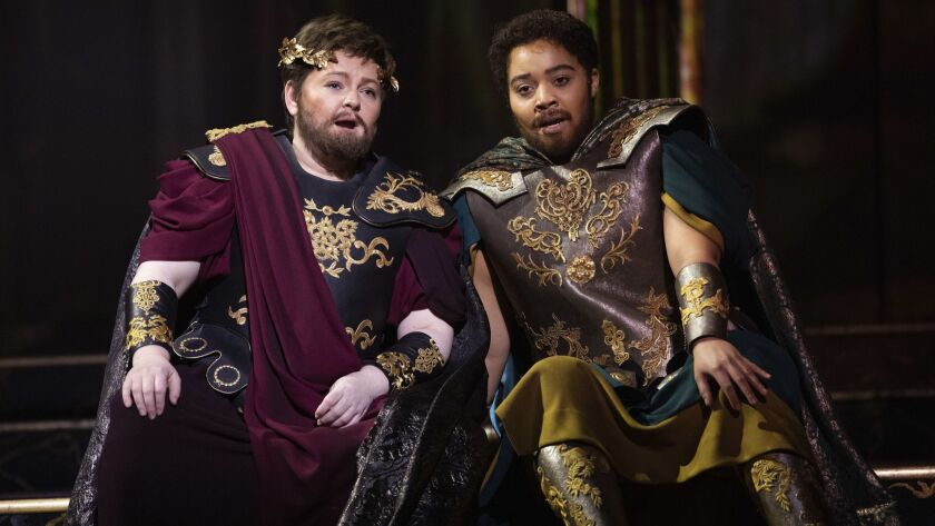 LOS ANGELES, CA-FEBRUARY 28, 2019: Elizabeth DeShong, left, as Sesto, a young Roman patrician, and
