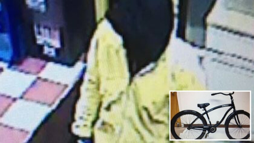 Security camera footage shows an assailant who burned a gas station clerk to death Wednesday. Also shown is the bicycle that the attacker may have ridden to escape.