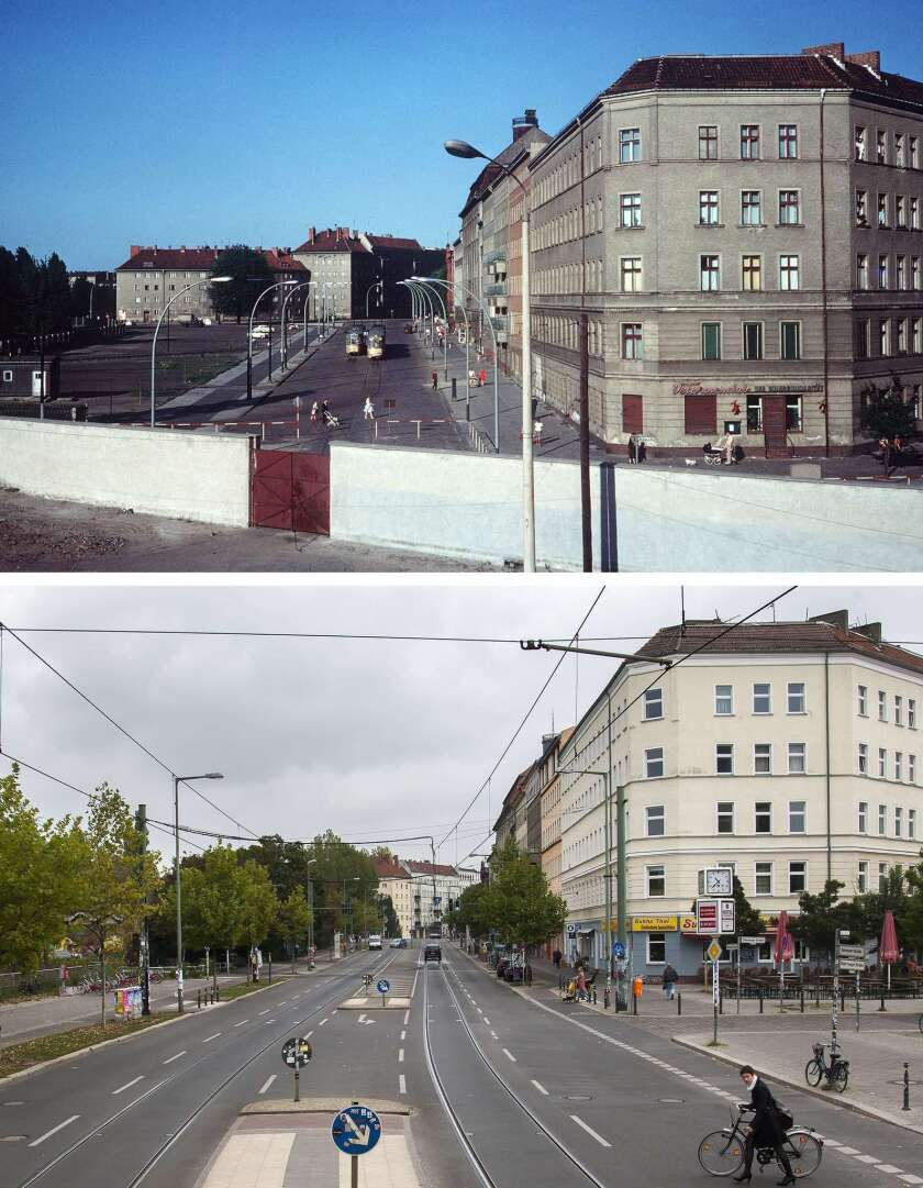 Two view of Eberswalder Strasse and Oderberger Strasse in East Berlin, before and after the fall of the Berlin Wall.