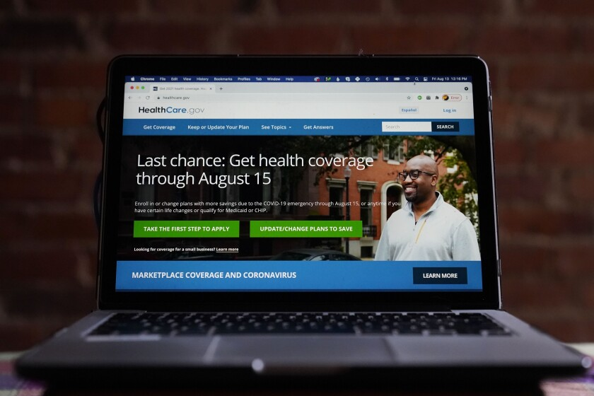 The HealthCare.gov website is photographed in Washington, Friday, Aug. 13, 2021. President Joe Biden announced Wednesday that 2.8 million consumers took advantage of a special six-month period to sign up for private health insurance coverage made more affordable by his COVID-19 relief law. (AP Photo/Pablo Martinez Monsivais)