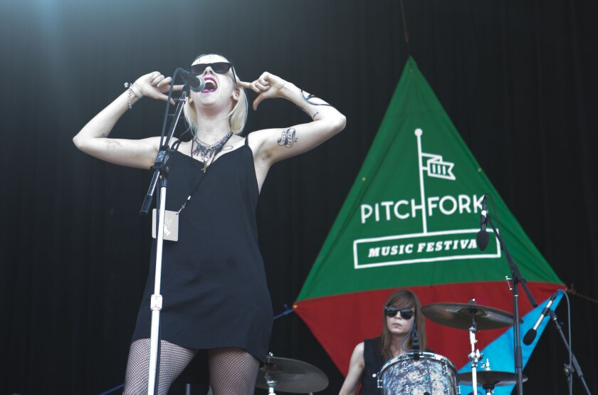 White Lung performs at the Pitchfork Music Festival in Chicago's Union Park on July 21, 2013.