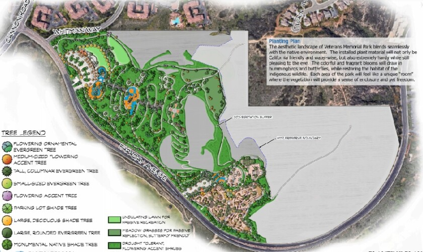 The proposed layout of Veterans Memorial Park in Carlsbad, with the bike course at the bottom.