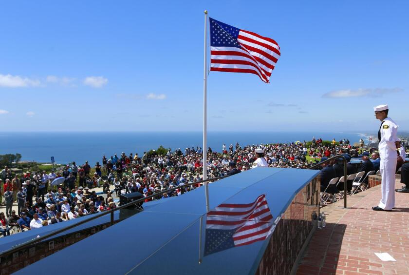 More than a thousand people attend the Memorial Day ceremony May 27 at Mount Soledad National Veterans Memorial in La Jolla.