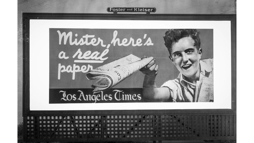 July 25, 1935: A Los Angeles Times billboard on Pico Boulevard at Ogden Drive.