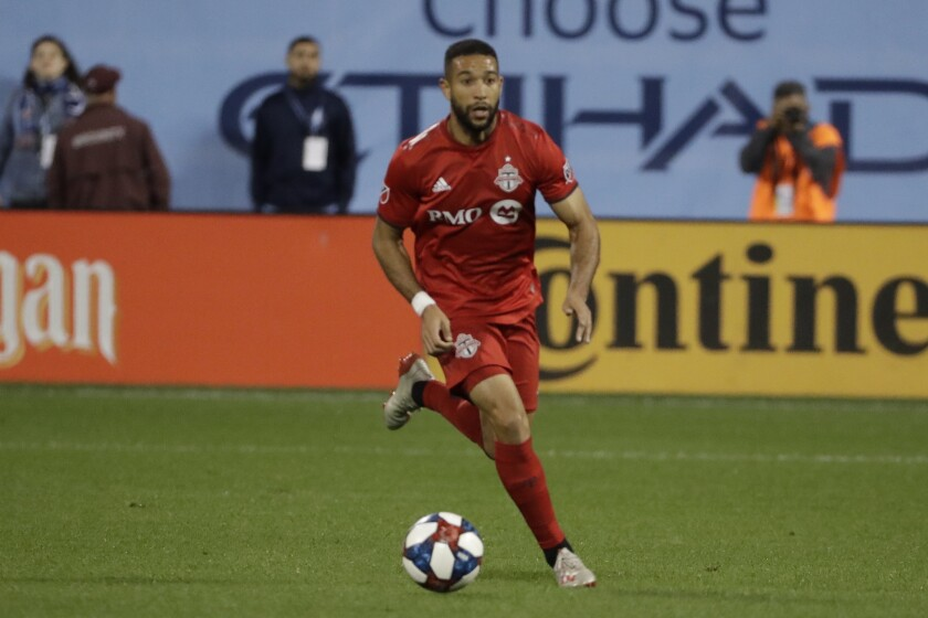 Toronto FC's Justin Morrow controls the ball during a match against New York City FC.