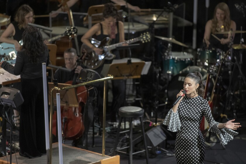"As part of LA Phil's Fluxus festival, Francisca Valenzuela performs Yoko Ono's ""Sister, O Sister"" in"