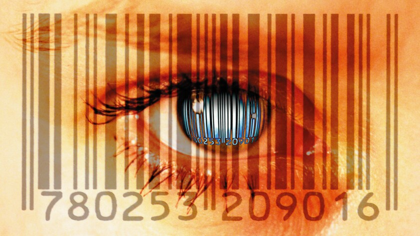 Bar codes and woman's eye, close-up (Digital Composite)