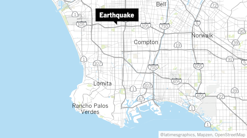 A map showing the location of the epicenter of Friday morning's quake near West Athens, Calif..