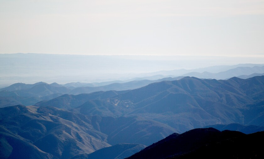 The view across the Salinas Valley to the San Joaquin Valley from the Bernard M. Oliver Observing Station on Chews Ridge in the Los Padres National Forest near Carmel, where researches are measuring the quality of the air as it blows ashore from the Pacific Ocean.
