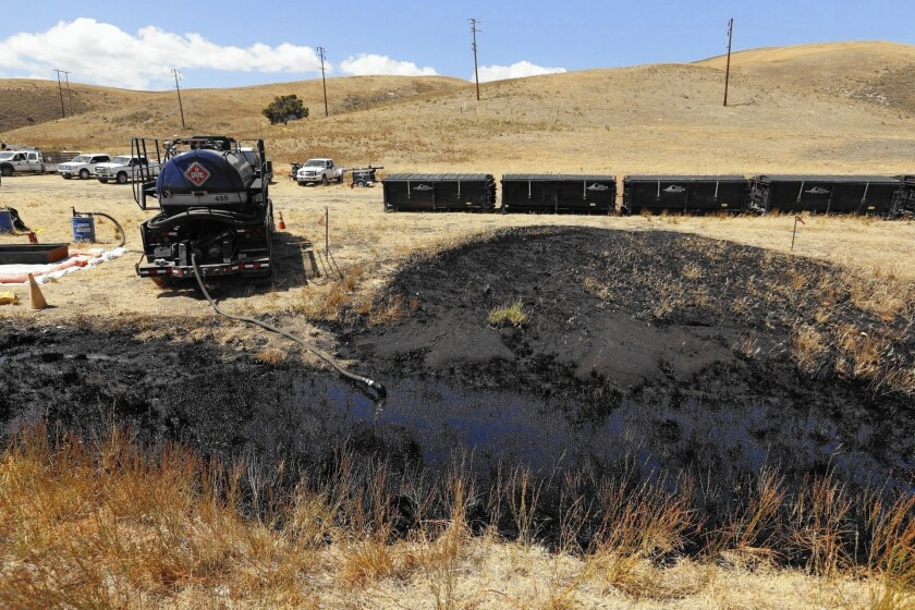 Oil-stained land marks where the rupture occurred along a pipeline last month in Santa Barbara County that's owned by Plains All American Pipeline. More than 100,000 gallons of oil was spilled, with about 20,000 gallons entering the ocean.