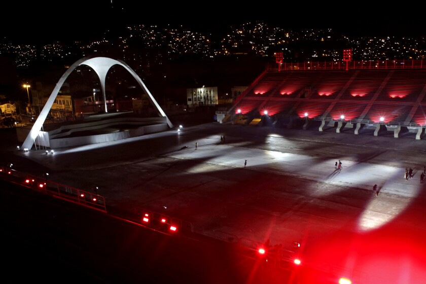 The empty, lighted Sambadrome in Rio.
