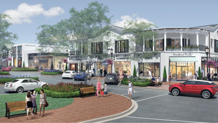 An artist's rendering of Rick Caruso's Palisades Village project.