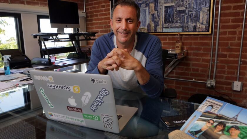 Entrepreneur and investor Howard Lindzon at the co-working space DeskHub in Little Italy.