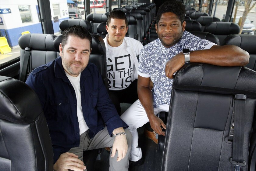 """Director J. Scott Lapp (left) with writer-composer-lyricists Taran Gray (center) and Richard Allen. They're going to the New York Musical Festival for a workshop production of """"Freedom Riders."""""""
