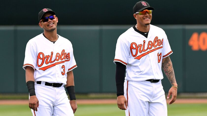 Orioles infielder Luis Sardinas (3) and Orioles infielder Manny Machado (13) look on from the field prior to their game spring training game against the Tampa Bay Rays at Ed Smith Stadium on Friday, Feb. 23, 2018.
