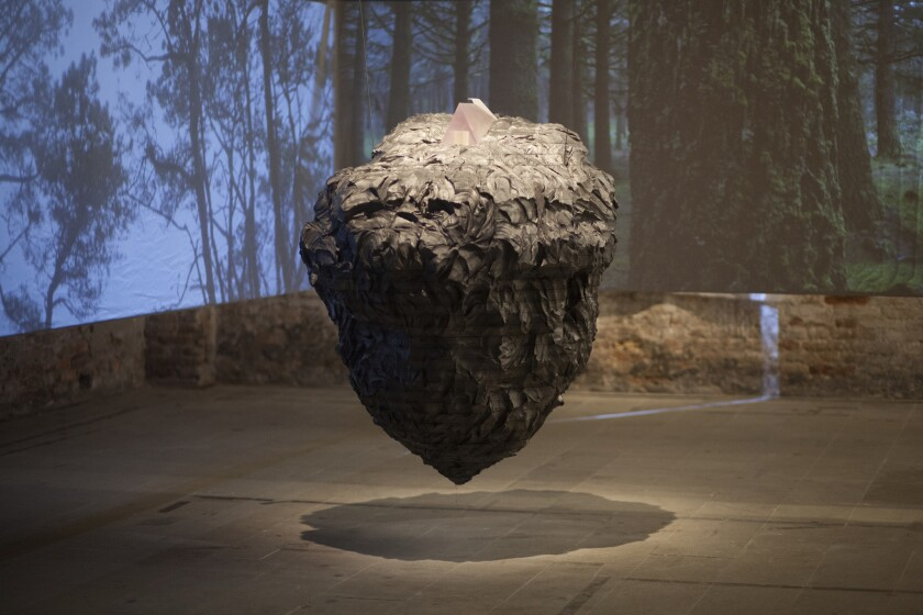 """Paul David's """"Inverted Ruins"""" is installed as part of the main biennale exhibition."""
